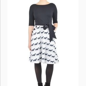 eShakti navy and white dachshund print dress
